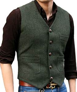 SOLOVEDRESS Men's Suit Vest Tweed Casual Waistcoat Formal