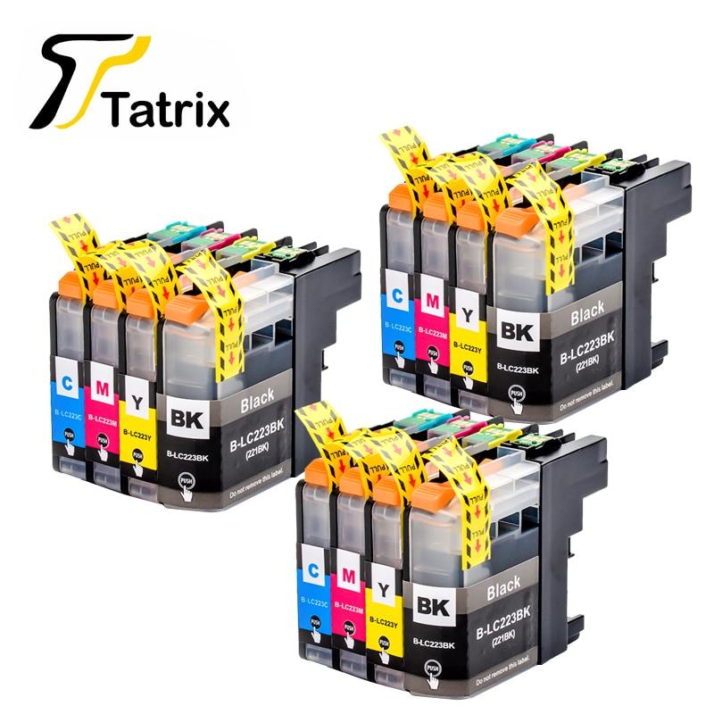 С чипом 12 шт LC223 LC221 совместимый чернильный картридж для Brother MFC-J4420DW/J4620DW/J4625DWJ480DW/J680DW/J880DW принтер