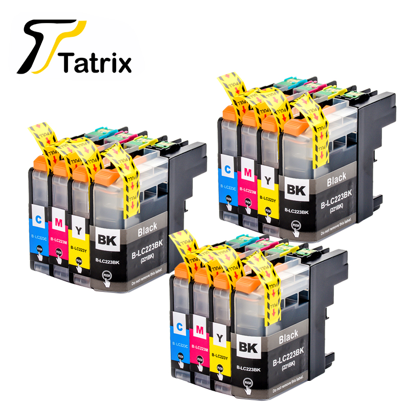 With Chip 12Pcs LC223 LC221 Compatible Ink Cartridge For Brother MFC-J4420DW/J4620DW/J4625DWJ480DW/J680DW/J880DW Printer yotat 4pcs refillable ink cartridge lc223 for brother dcp 4120dw mfc j4420dw mfc j4620dw mfc j4625dw mfc j480dw mfc j680dw