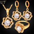 U7 Cubic Zirconia Wedding Jewelry Sets For Women Yellow Gold Plated Rose Flower Earrings Ring Necklace Set For Women S727