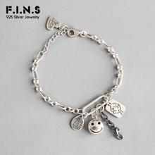 F.I.N.S 925 Sterling Silver Smile Face Tag Pendant Bracelet for Women Handmade Thai Silver Chain Link Bracelets on Hand Jewelry
