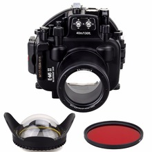 цена на Meikon 40M/130ft Waterproof Underwater Camera Housing Diving Case for Olympus E-M5 II 12-50mm Lens With Fisheye Lens+Red Filter