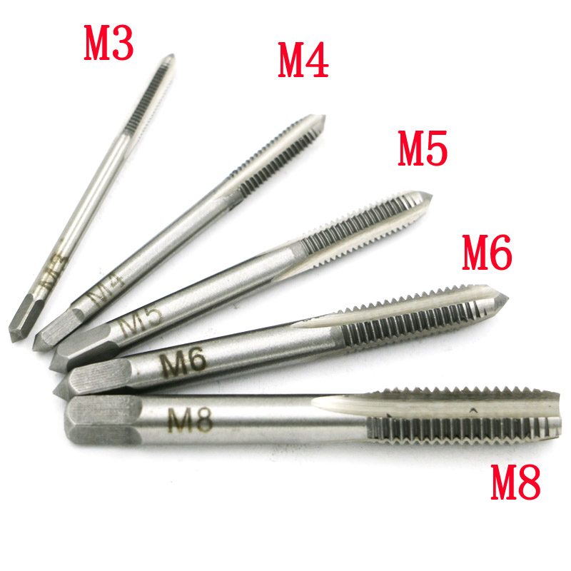 New 5PCS/Set HSS M3 M4 M5 M6 M8 Machine Spiral Point Straight Fluted Screw Thread Metric Plug Hand Tap Drill 20pcs m3 m12 screw thread metric plugs taps tap wrench die wrench set
