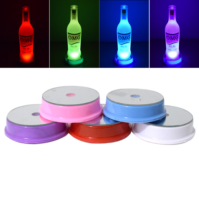 Creative 3LED KTV Restaurant Cocktail Table Mat Cup Holder Battery Operated LED Vase Show Light Base Lamparas