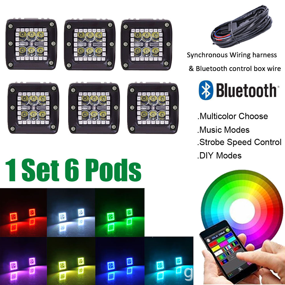 1 set 6PCS 3INCH LED Work Light Bar Cube Pods with RGB Halo Ring Strobe Music DIY Bluetooth Connection & Wiring Harness kits despicable me 2 battle pods loose 1 inch micro figure 36 blaster jerry [battle pods]