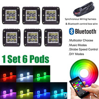 1 set 6PCS 3INCH LED Work Light Cube Pods with RGB Halo Ring Strobe Music DIY Bluetooth Control & Wiring Harness kits