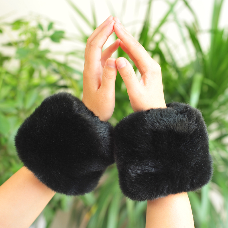 One Pair! New Arrivals Women Winter Warm Hairy Cuff Faux Rabbit  Fur Women Clothing Accessories Faux Fur Wrist Cuff