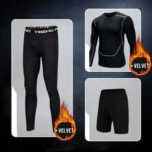 BINTUOSHI 3Pcs Fitness Sport Suit Mens Wear Keep Warm Long Sleeve Exercise Training Sports Thickening Fleece Set
