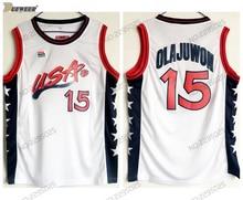 733c579290d9 DUEWEER Mens Retro 1996 Atlanta Dream Team USA Hakeem Olajuwon Basketball  Jerseys White  15 Hakeem