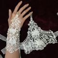 Frete Grátis Marfim Sem Dedos Luvas de Casamento de Noiva Strass Apliques Laço Nupcial Luvas 2016 Acessórios Do Casamento