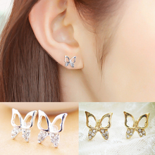 1Pair Hot Fashion Elegant Golden Silvery Hollow Butterfly Crystal Women Lady Girl Trendy Ear Stud