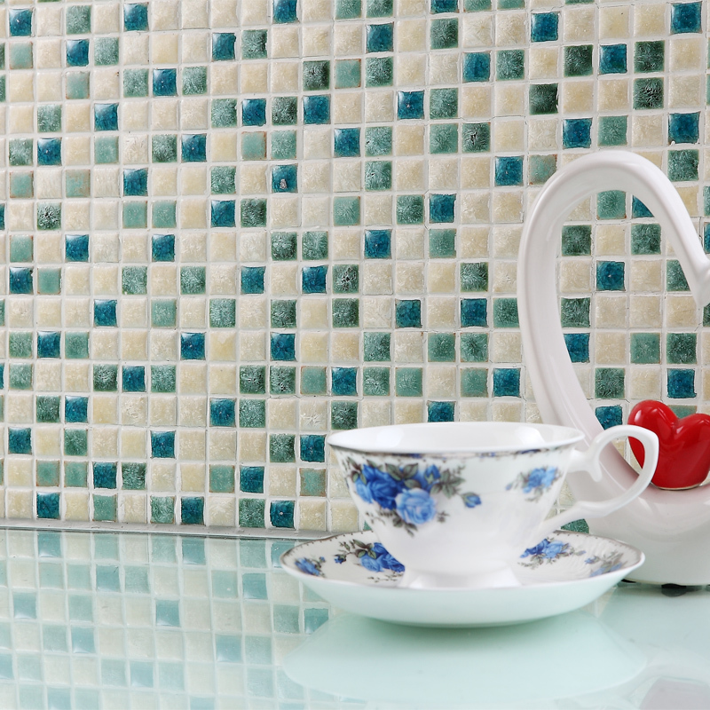 Green White Kiln Polished Porcelain Ceramic Tiles Mosaic HMCM1047 Kitchen  Backsplashl Tile Bathroom Floor Ceramic Wall Tiles In Wall Stickers From  Home ...