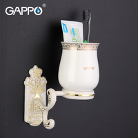 GAPPO 1 Set Zinc Alloy Cup Holder Cetamic Cups Wall Mount Bathroom Accessories Single Toothbrush Tooth