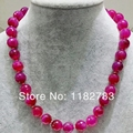 FREE SHIPPING 2017 new 100 % natural gem stone in plain  simple  round shine baby bright pink agate necklace pure handworking