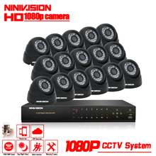 16CH AHD DVR 16*1080P Dome AHD CCTV Kits 2.0MP Black Security Cameras Super Night Vision Home Video Surveillance System NO HDD