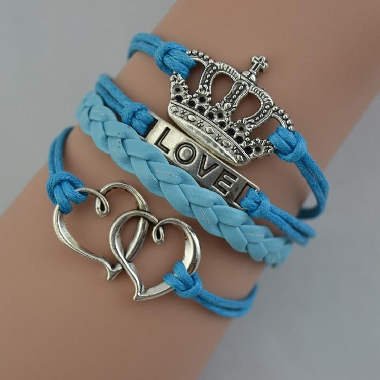 Online Shop FREE SHIPPING Blue Leather Bracelet King Queen Crown Bracelet Love Bracelet Double Heart Bracelet Girl Gift Wholesale