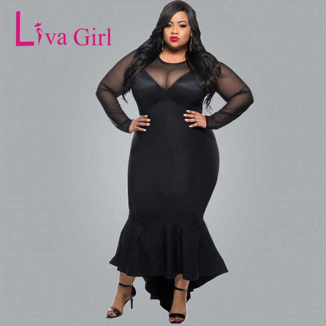 215396651620 Liva Girl Women Curvy Midi Dresses Sexy Club Plus Size Long Mesh Sleeve Big Size  Dress Autumn Mermaid Dress Vestidos Mujer XXXL