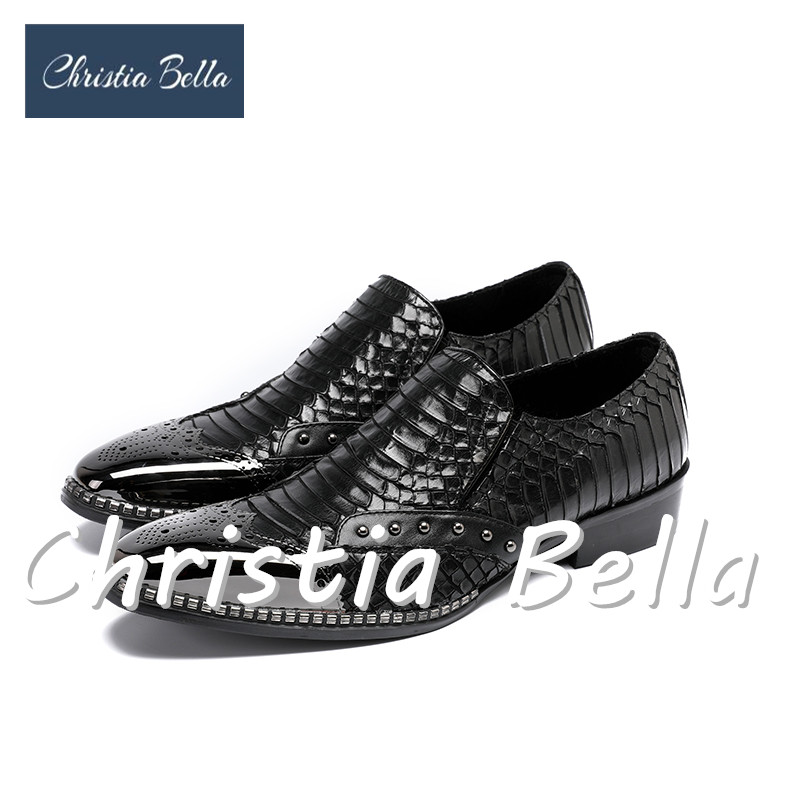 Christia Bella Fashion Embossed Leather Men Dress Shoes Rivet Slip On Slippers Luxury Elegant Round Toe Black Causal Loafers