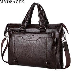 Image 3 - MYOSAZEE célèbre marque hommes mode Simple affaires porte documents sac mâle en cuir pour ordinateur portable sac décontracté hommes voyage sacs épaule