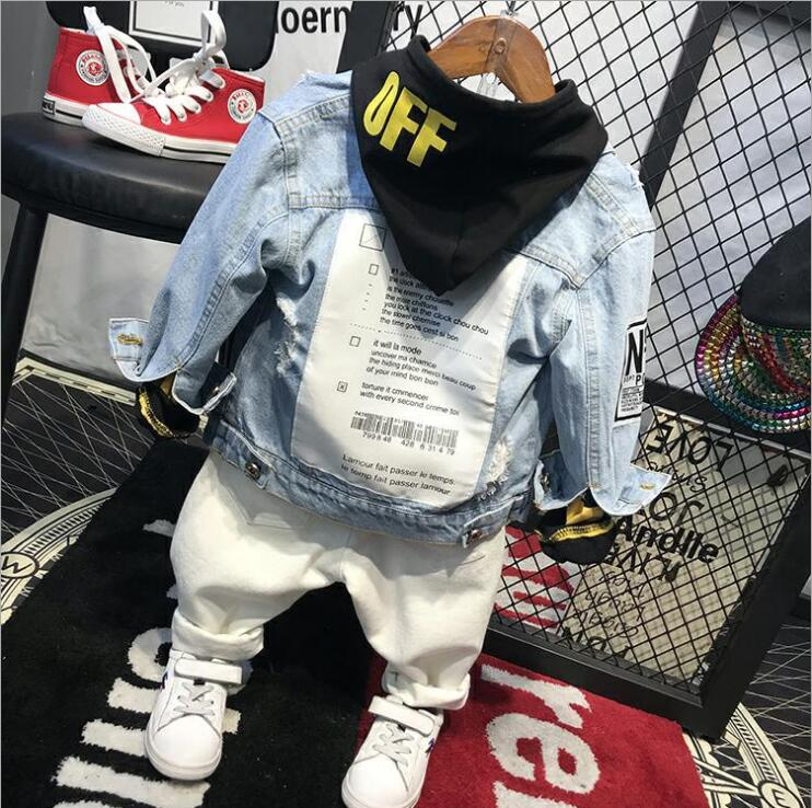 kids clothing sets fashion cartoon children spring and autumn Denim jacket + hoodies + jeans 3pcs boys set toddler boys clothing 2018 new cartoon boys clothing sets 2pcs denim jacket