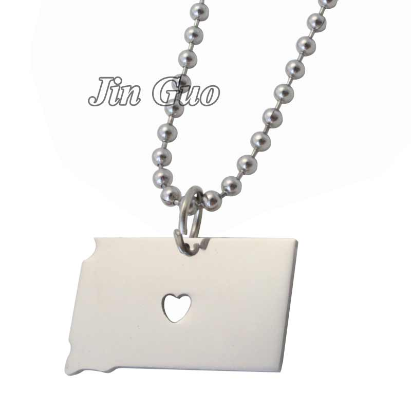Jin Guo United States Maps South Dakota map stainless steel pendant & necklace