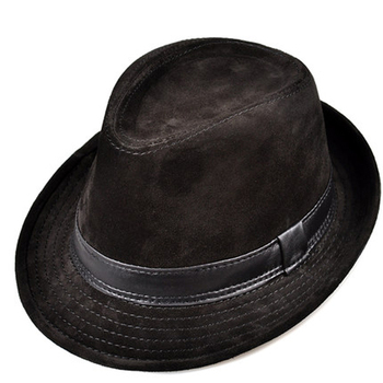 RY9108 Men Genuine Leather Suede Cow Skin Nubuck Brown Fedoras Hats Women Gentleman Male Jazz Hip Pop Caps 56-60cm Fitted Hat 2