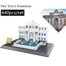 New World famous architectural Fontana di Trevi fit city Building Blocks Bricks  DIY Toys For Children Birthday gift