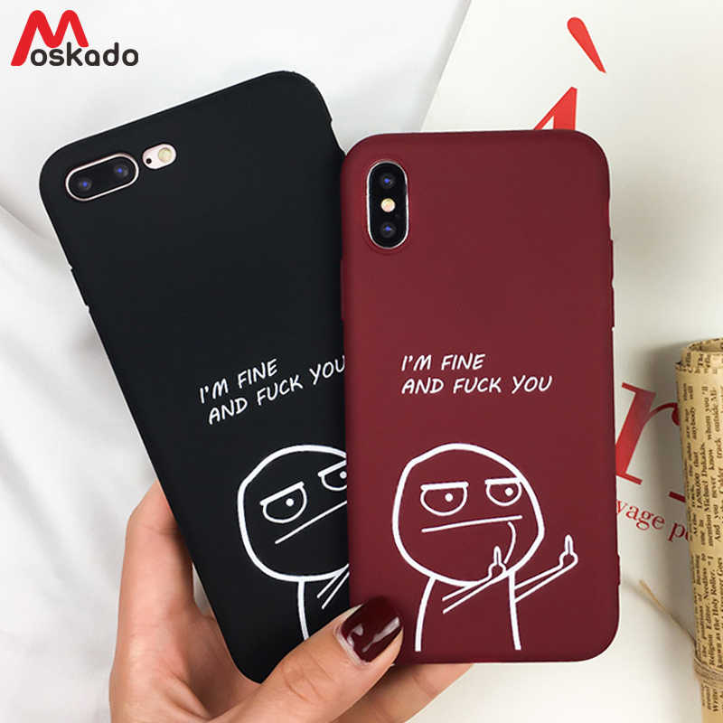 6114c4e1ec Moskado Couples Phone Case For iphone X 6 6S 7 8 Plus Cartoon Funny Pattern  Letters