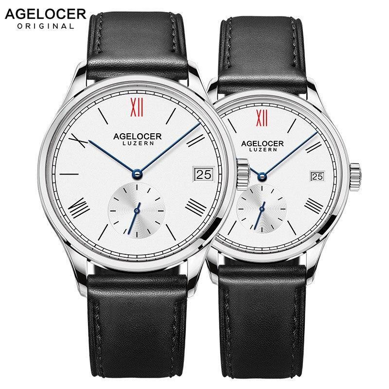 AGELOCER hommes montre suisse Top marque de luxe montres mécaniques 2019 femmes hommes en acier inoxydable Bracelet montres pour Couple amoureux