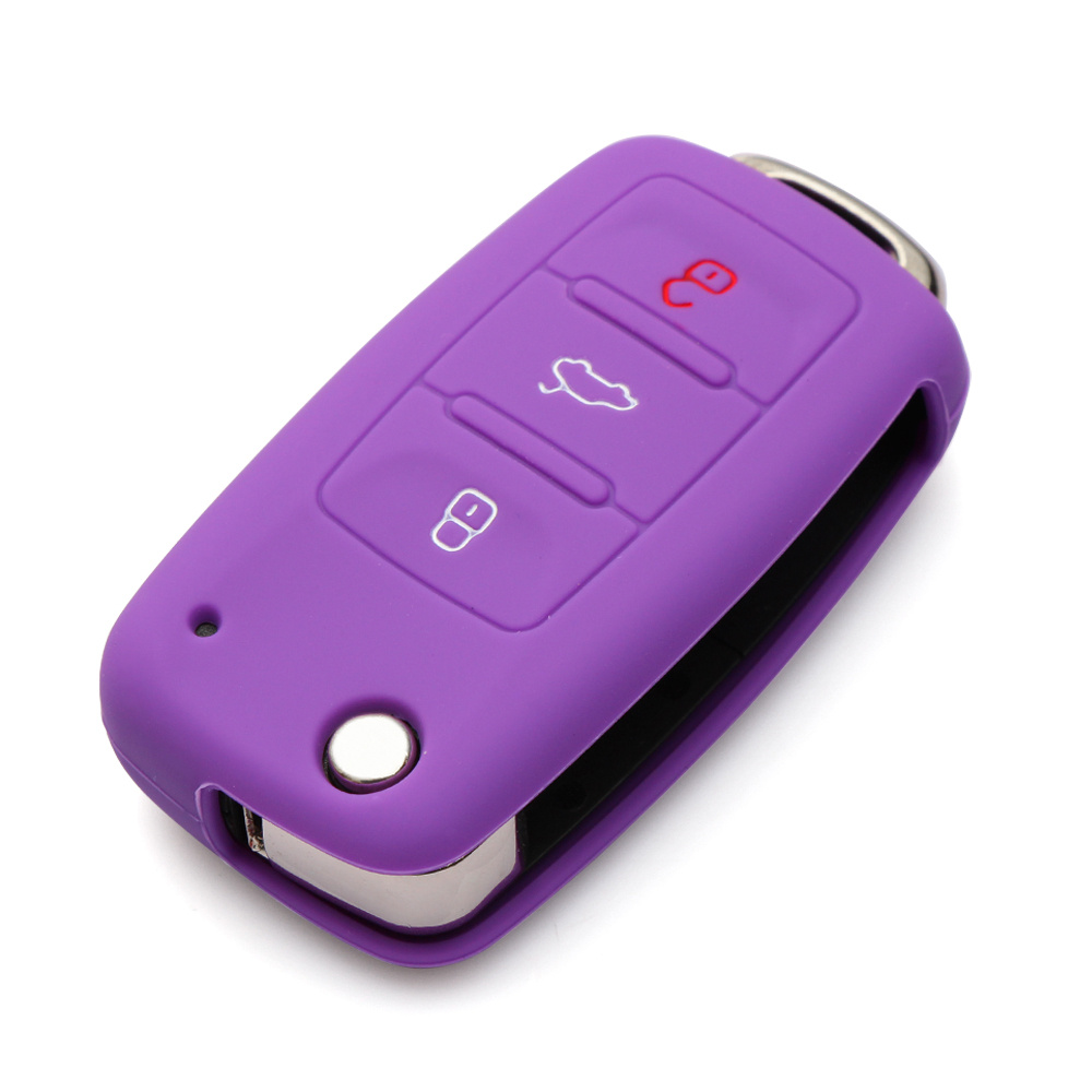 Силиконовый чехол для ключей автомобиля для Volkswagen polo passat golf 5 6 jetta tiguan Gol CrossFox Plus Eos Scirocco Beetle, автомобильный Стайлинг - Название цвета: Фиолетовый