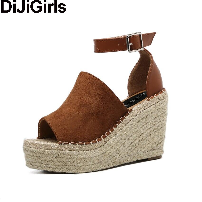 DiJiGirls Summer Women Peep Toe Faux Suede Ankle Sptra Sandals Woman Hemp Straw Rope Platform Wege High Heel Fisherman Shoes