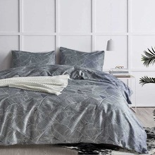 Nordic Pastoral Leaves Bedding Set Dark Grey Bed Linen Simple Fashion Vein Pillowcase Duvet Cover Sets Home Textile US Size