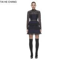 High-end personalizzato donne autunno new spring fashion sottile pista stella del merletto manica lunga mini breve sexy vestito blu 6028199080