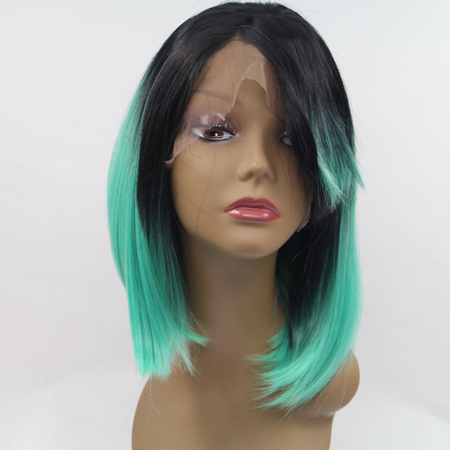 hot sele green ombre wig synthetic lace front wig short bob wigs for women heat resistant fiber hair with dakr roots