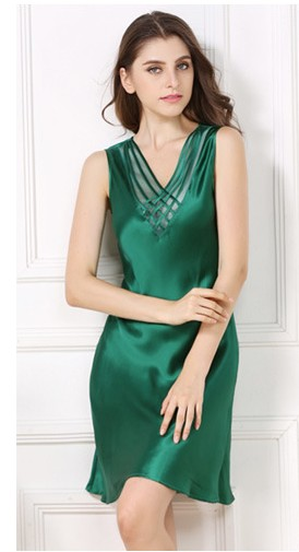 Silk summer thin women 100% silk silkworm silk sleeping skirt sexy sleeveless bottom green