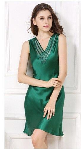Silk summer thin women 100% silk silkworm silk sleeping skirt sexy sleeveless bottom green silk