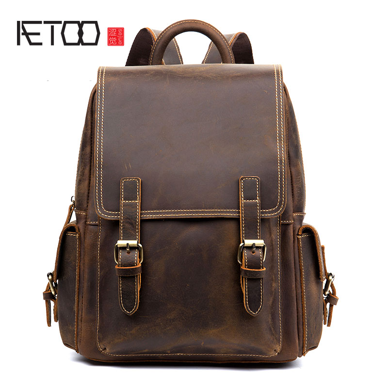 AETOO retro handmade first layer leather shoulder bag man bag casual female leather backpack computer bag aetoo spring and summer new leather handmade handmade first layer of planted tanned leather retro bag backpack bag