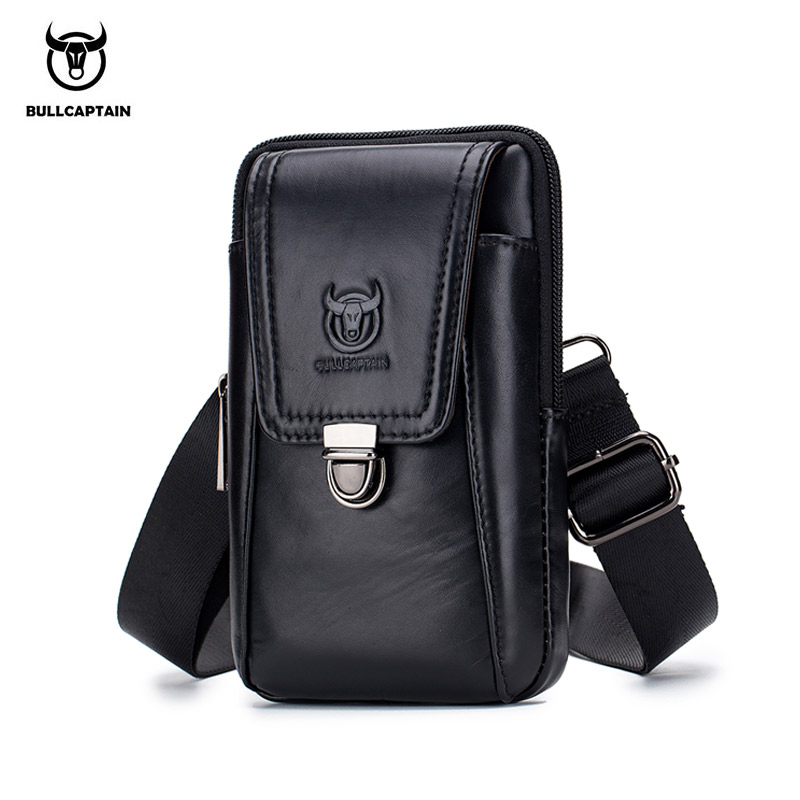 BULLCAPTAIN  Genuine Leather Vintage Waist Packs Men Travel Fanny Pack Belt Bum Shoulder Bag Waist Bag Mobile Phone Pouch
