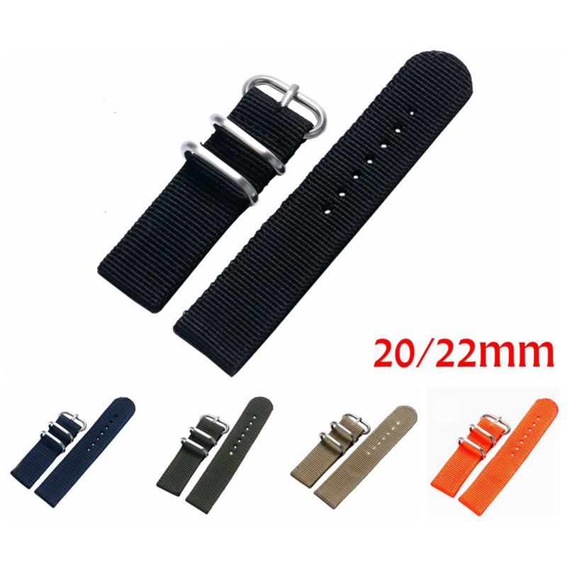 20mm 22mm Military Nylon Fabric Canvas Wrist Band Strap Stainless Steel Black/Silver Pin Buckle 7 Colors For Men Women Watch black 20mm band width rubber wrist watch band strap stainless steel pin buckle 2 spring bars