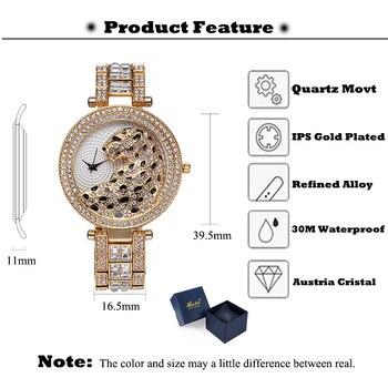 Missfox Women's Leopard Bling 18K Gold Plated Gems & Stones Diamond Female Waterproof Quartz Watches 2