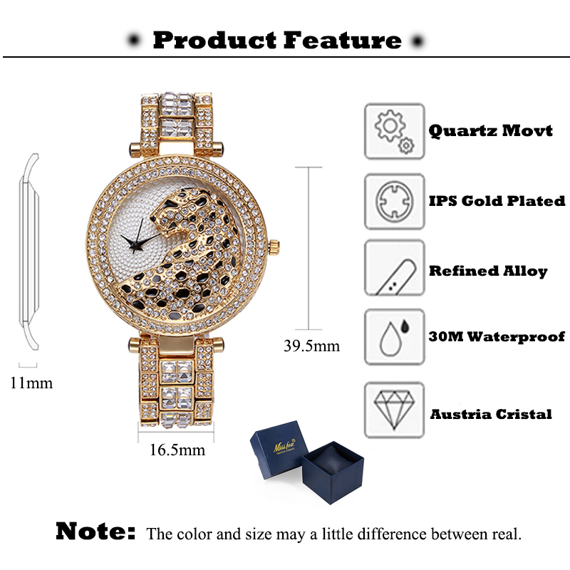 Top SaleMISSFOX Ladies Watch Crystal Diamond Women Clock Bling Leopard Female Fashion Quartz