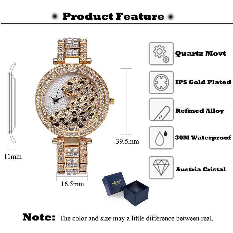 MISSFOX женские кварцевые часы модные шикарные повседневные женские часы женские кварцевые золотые часы с кристаллами и бриллиантами леопардовые часы для женщин
