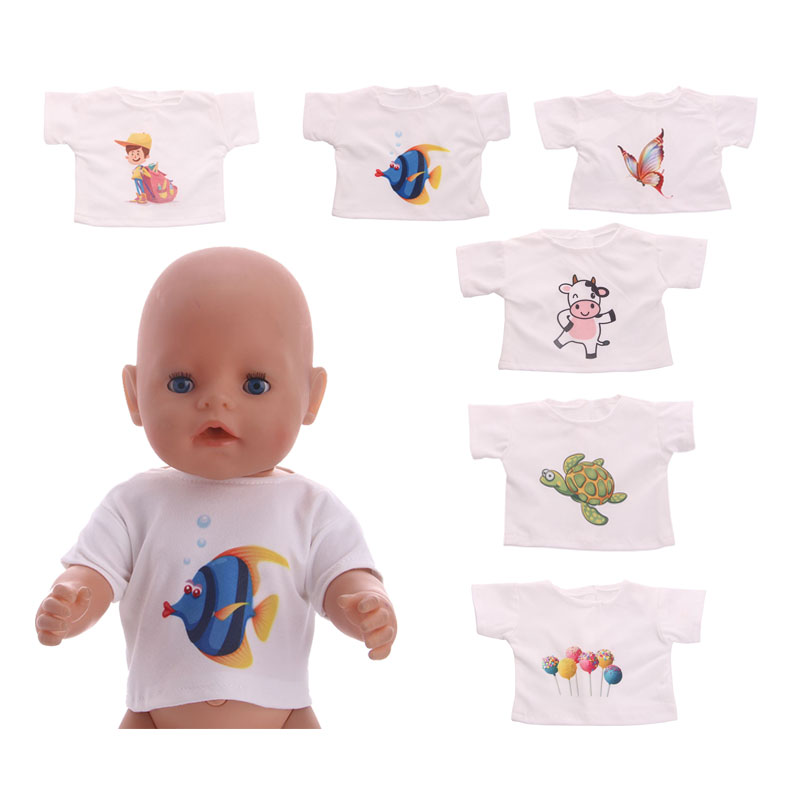 White T-Shirt Cute Monkey CowPattern Doll Clothes Wear fit 18inch American Girl Doll&43cm Baby Born zapf clothes and accessories superman and spider man cosplay costume doll clothes fit 43cm baby born zapf doll accessories handmade child birthday gift t 5