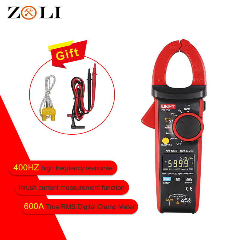 UNI T UT216D OLED Display 600A True RMS Digital Clamp Meters UT216 AC DC Current V