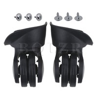 2pcs BQLZR Black Plastic Luggage Universal Wheels Accessories 8 5x8 3x4 9cm