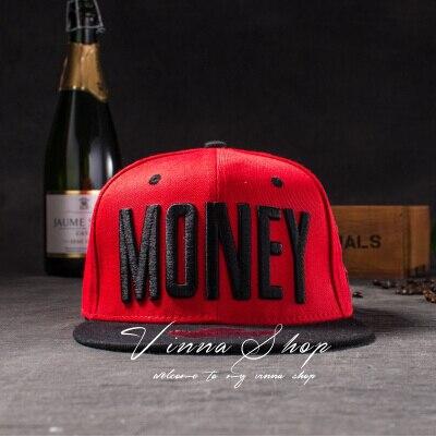 Новые модные мужские и женские повседневные кепки Snapback Swag MONEY Letters 3D Вышивка Хип-Хоп Кепка бейсбольная кепка s Bone Gorras для мужчин и женщин - Цвет: Красный