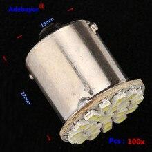 100 pçs/lote 1156 ba15s p21w 22 smd 22 leds luz 3014 smd carro led rogue lâmpada 1206 smd sinal de volta reversa volta luz da cauda branco