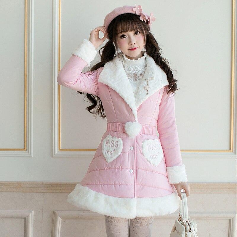 Princesse douce lolita parkas Tout-Allumette Coréenne filles coton bonbons pluie mince à manches longues Unique poitrine long parkas C22CD7298