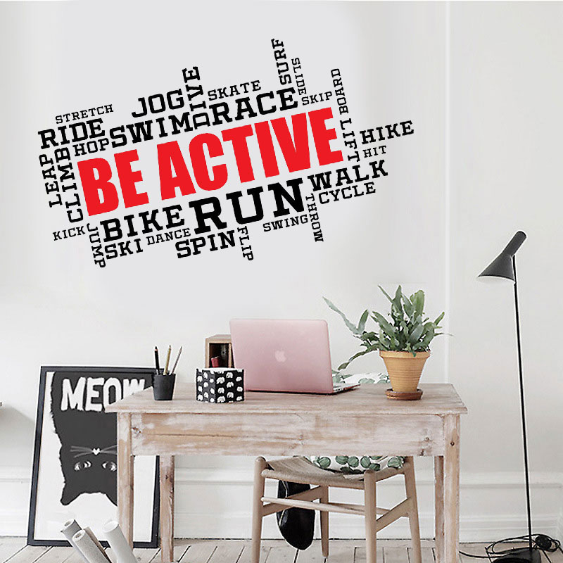 Be Active Motivation Wall Art Quotes Stickers Vinyl Decal Home Office Decor Gift Removable DIY Mural Wallpaper F748