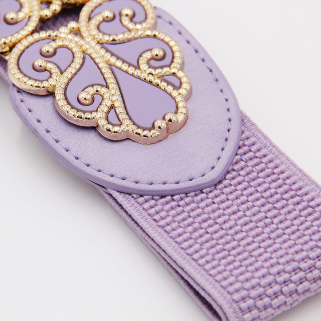 Wide Waist Belts for Women Stretchy Corset Waistband Hollow All-Match Women's Belt Flower Pattern Cummerbund Overcoat Belt 4